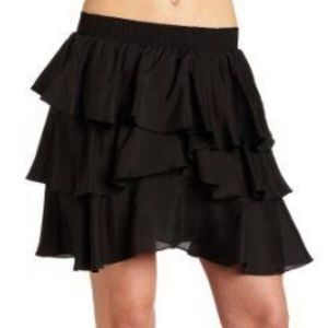BB Dakota Black Tiered Silk Ruffle Miniskirt